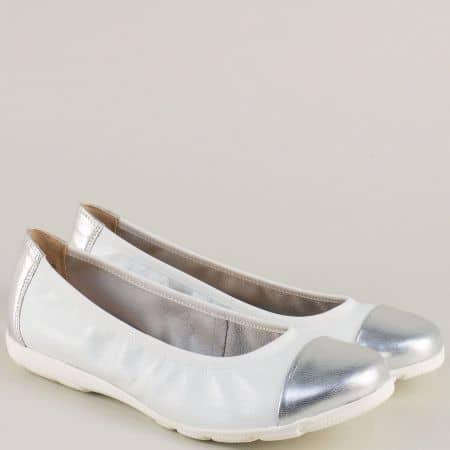 Дамски обувкив бяло и сребро от естествена кожа- Caprice 922152bsr