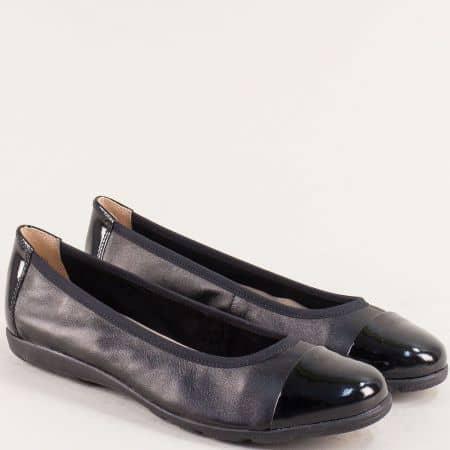 Равни дамски обувки от естествен лак и кожа в черен цвят 922152tch