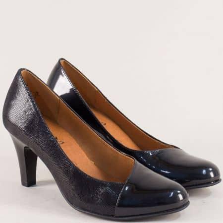 Черни дамски обувки от естествена кожа и лак с On Air  922400lch