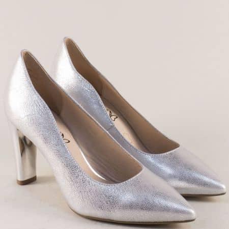 Сребърни дамски обувки на висок ток от естествена кожа 922402sr