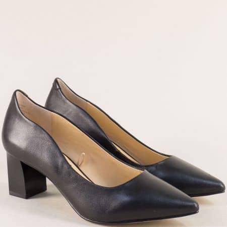 Черни дамски обувки на среден ток от естествена кожа 922404ch
