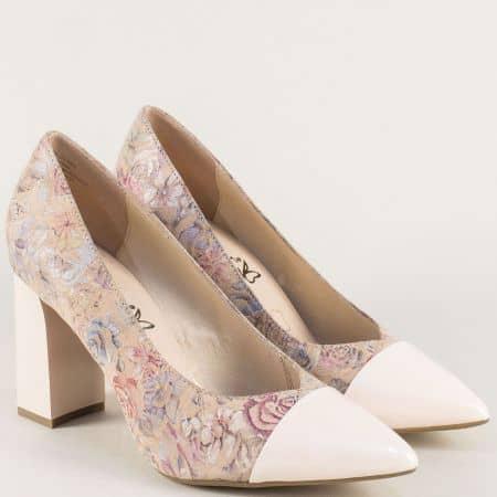 Дамски обувки на висок ток в бежов цвят- Caprice 922405bj