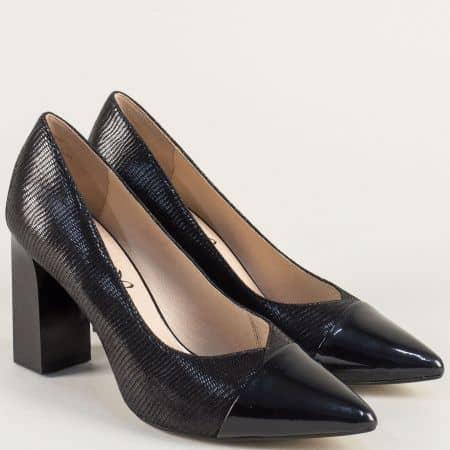 Черни дамски обувки от естествен лак и кожа на висок ток 922405ch