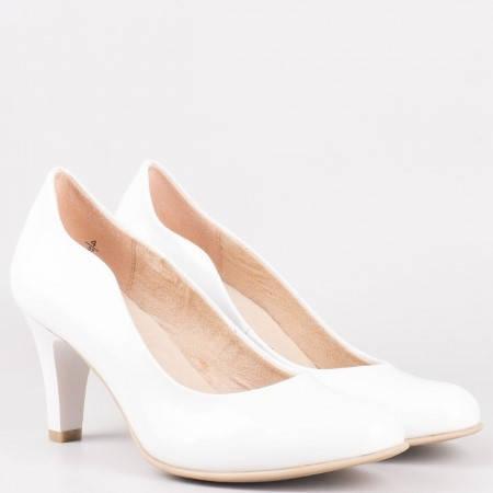 Бели дамски обувки на висок ток с кожена стелка- Caprice 922406lb