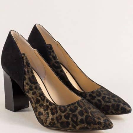Черни дамски обувки на висок ток с тигров принт- Caprice 922407chps