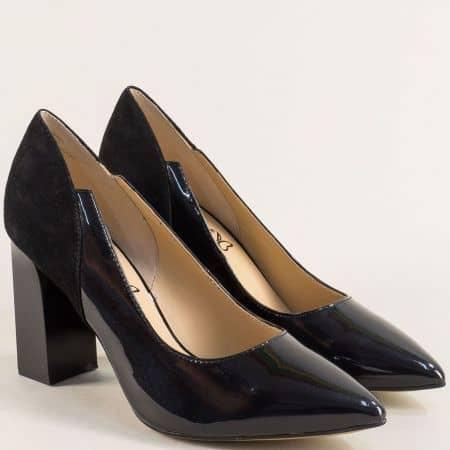 Черни дамски обувки от естествен лак и велур на висок ток 922407lch