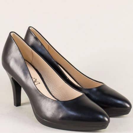 Кожени дамски обувки на висок ток в черен цвят- Caprice 922414ch