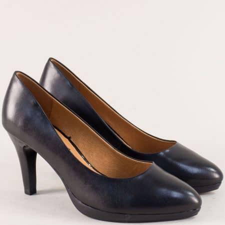 Черни дамски обувки на висок ток от естествена кожа 922421ch