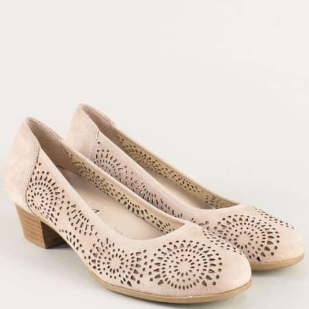 Немска дамска обувка на Caprice от естествен велур в бежов цвят 922500vbj