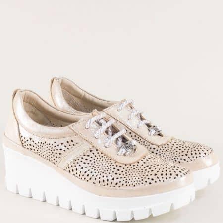 Златни дамски обувки от естествена кожа с перфорация  9229zl