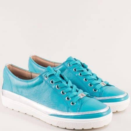Тюркоазено сини дамски обувки с кожена стелка- CAPRICE 923654s
