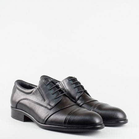 Стилни черни мъжки обувки от естествена кожа с връзки 923ch