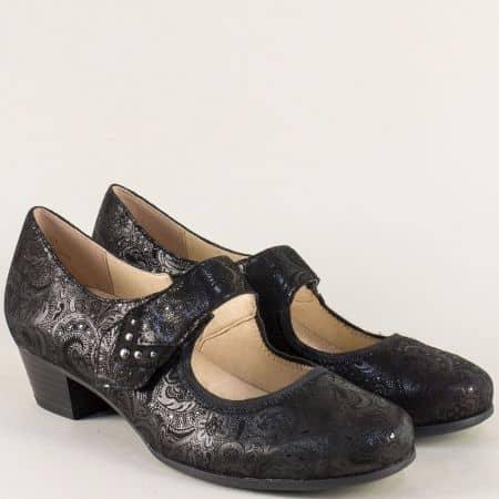 Черни дамски обувки на нисък ток от естествен набук 924301nch
