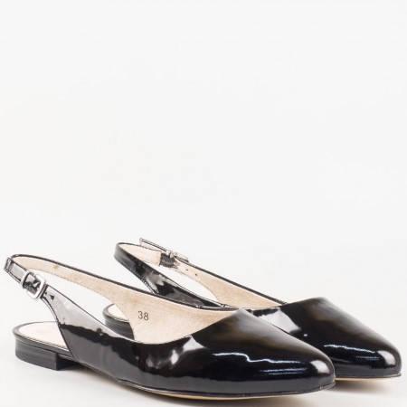 Дамски обувки с отворена пета от черен естествен лак  929402lch