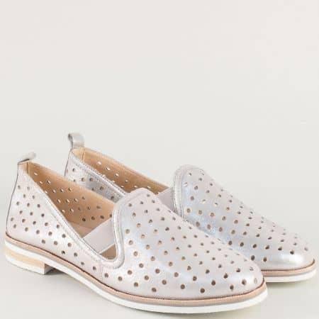 Сребристи дамски обувки с лазерна перфорация- Caprice 924500sr