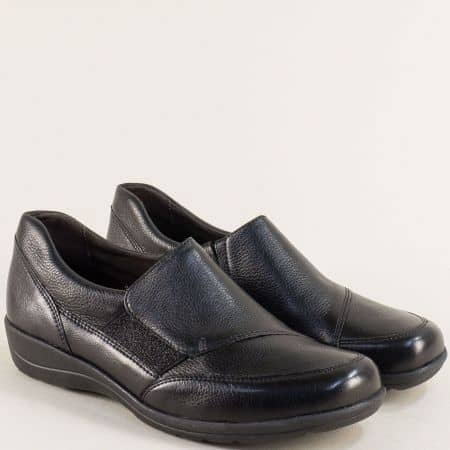 Черни дамски обувки от естествена кожа- Caprice 924601ch