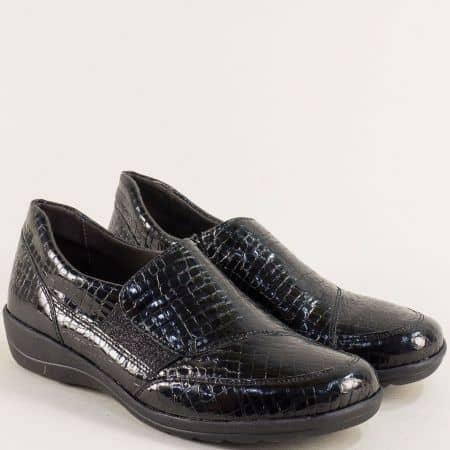 Черни дамски обувки от естествен кроко лак с On Air  924651klch