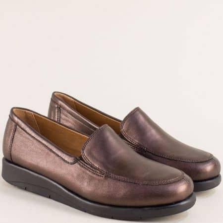Кафяви дамски обувки с кожена стелка и On Air система 924750k