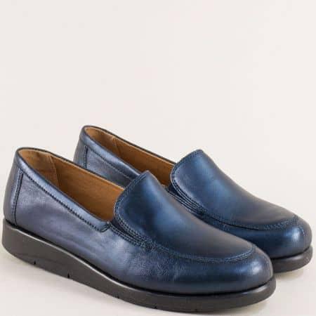 Кожени дамски обувки с два ластик в син цвят- Caprice 924750s