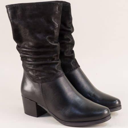 Черни дамски боти от естествена кожа и сатен- Caprice 925321ch
