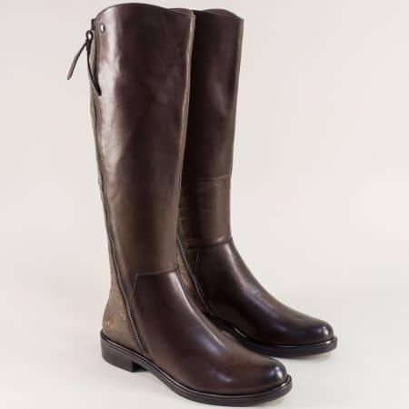 Тъмно кафяви дамски ботуши от естествена кожа- Caprice 925516kk