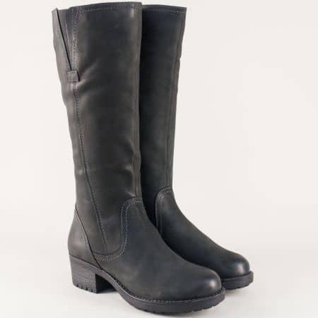 Черни дамски ботуши от естествен набук на среден ток 925653nch