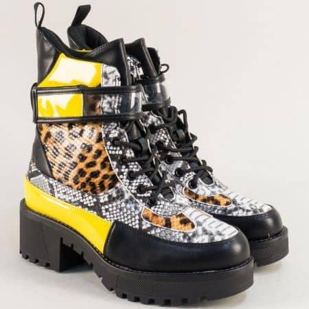 Дамски боти на нисък ток в черно, сиво, жълто и оранж 952ps