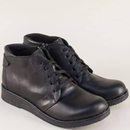 Дамски боти на равно ходило с връзки и цип в черен цвят 926656ch