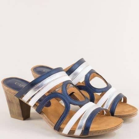 Дамски чехли в сребро, бяло и синьо на висок ток 927201sps