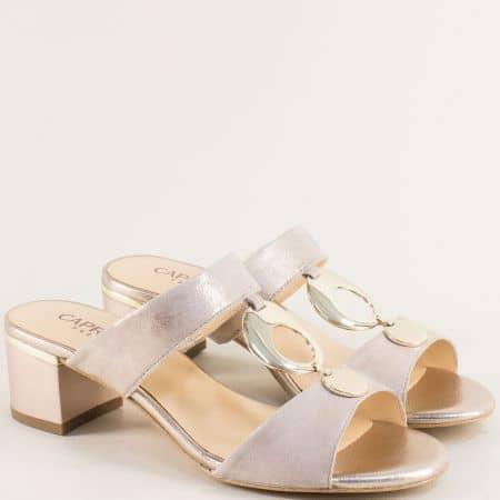 Кожени дамски чехли на среден ток в бежов цвят- Caprice 927204bjzl