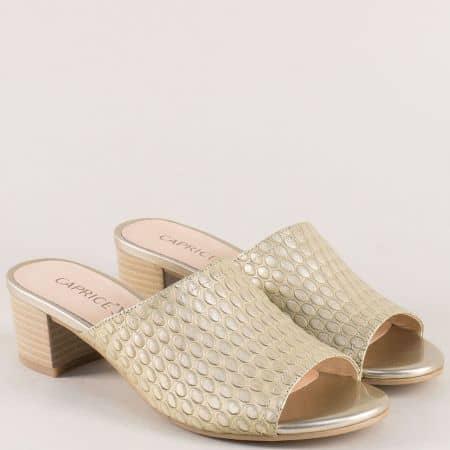 Златни дамски чехли от естествена кожа на среден ток 927208zl