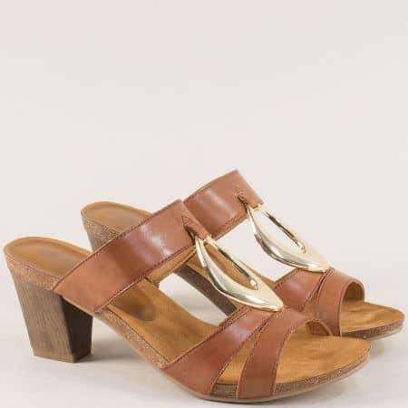 Кафяви дамски чехли на висок ток от естествена кожа 927210k
