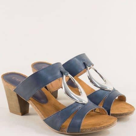 Кожени дамски чехли на висок ток в син цвят- Caprice 927210s