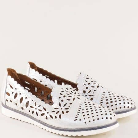 Бели дамски обувки от естествена кожа с перфорация 9280sb