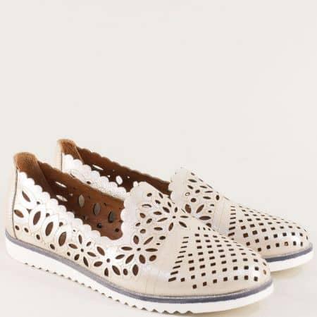 Перфорирани дамски обувки с кожена стелка в бежов цвят 9280sbj