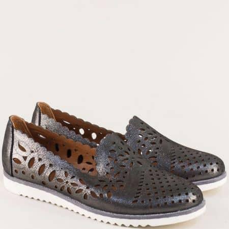 Черни дамски обувки с метален блясък на равно ходило 9280sch