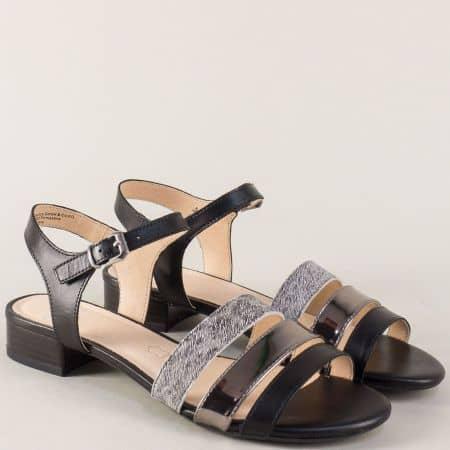 Кожени дамски сандали на нисък ток в черен цвят- Caprice  928101ch