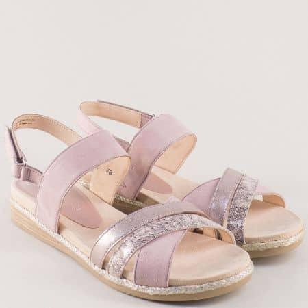 Розови дамски сандали на равно ходило от естествена кожа 928103rz
