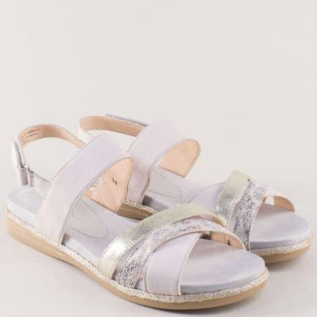 Сиви дамски сандали Caprice от естествена кожа на равно ходило 928103sv