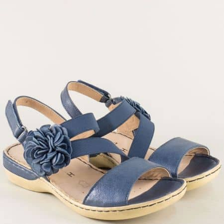 Анатомични дамски сандали в син цвят на шито ходило 928106s