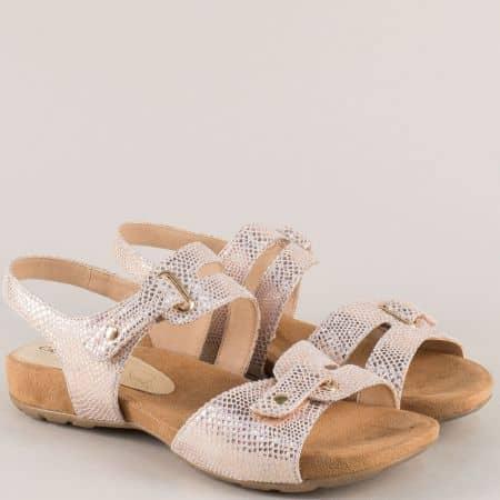 Анатомични дамски сандали в бежов цвят с две лепки 928107bj