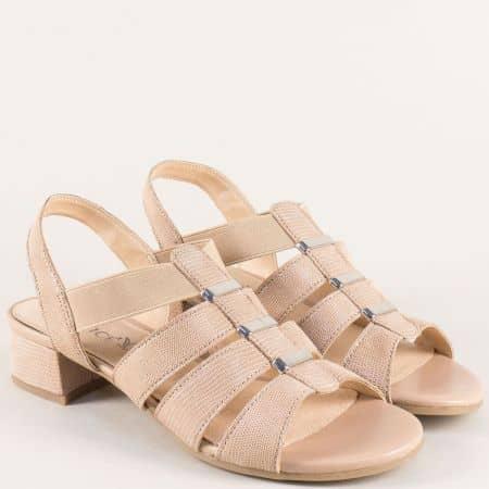 Бежови дамски сандали от естествена кожа на нисък ток 928200bj