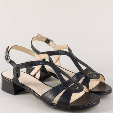 Кожени дамски сандали на нисък ток в черен цвят 928201ch