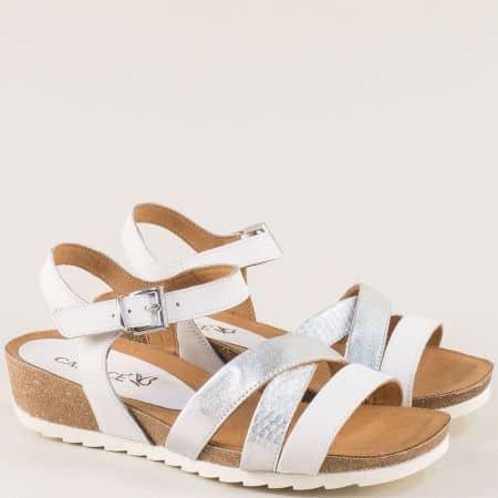 Сребърни дамски сандали на клин ходило- Caprice 928208sr