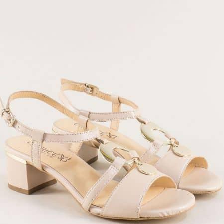 Бежови дамски сандали от естествена кожа на среден ток 928211bj