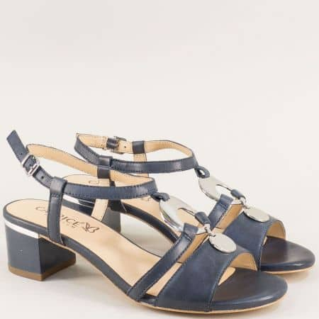 Кожени дамски сандали в синьо на среден ток- Caprice 928211s