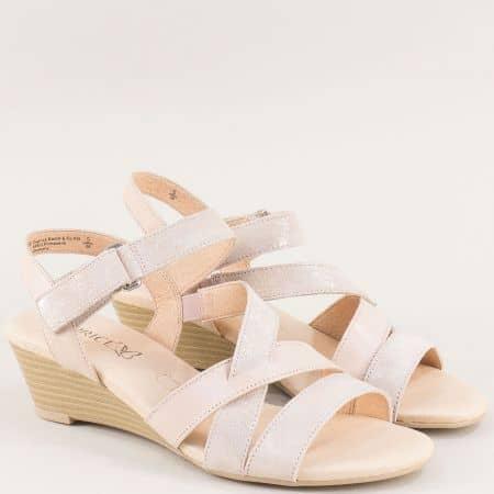 Дамски сандали в бежов цвят с велкро лента- Caprice 928214bj