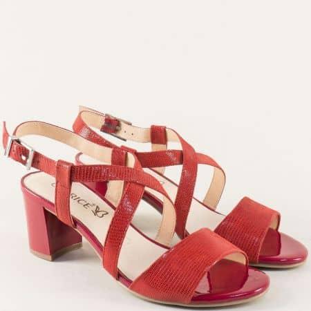 Червени дамски сандали на висок ток от естествена кожа 928300chv