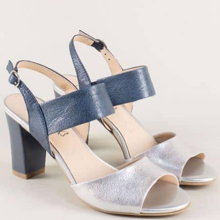 Дамски сандали в сребро и синьо на висок ток- Caprice 928304s
