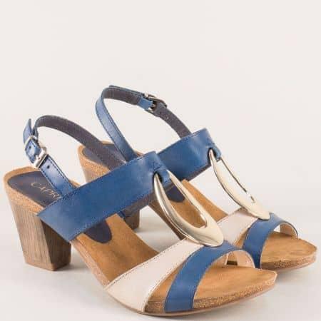 Дамски сандали от естествена кожа в синьо и бежово 928307s